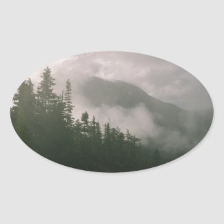 Foggy Forest Oval Sticker