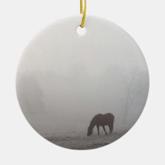 Foggy Grazing Ceramic Ornament