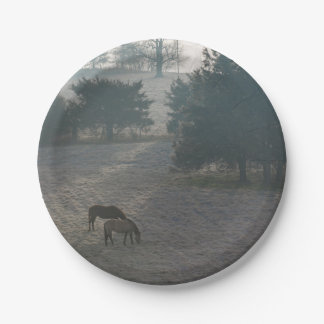 Foggy Grazing Paper Plate
