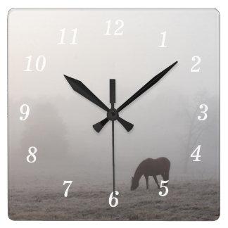 Foggy Grazing Square Wall Clock