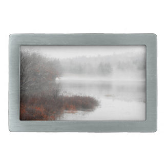 Foggy Lake on a Winter Day Belt Buckles