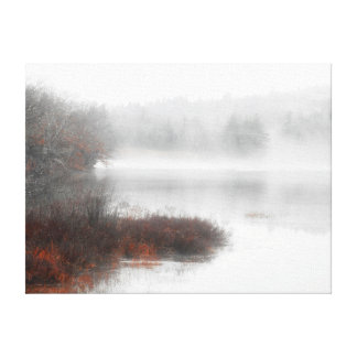 Foggy Lake on a Winter Day Canvas Print
