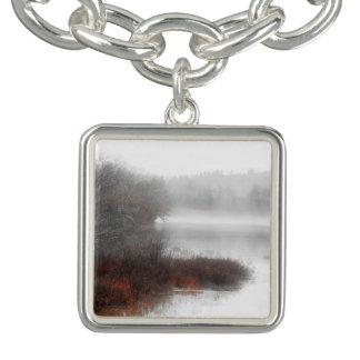 Foggy Lake on a Winter Day Charm Bracelet