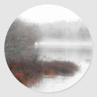 Foggy Lake on a Winter Day Classic Round Sticker