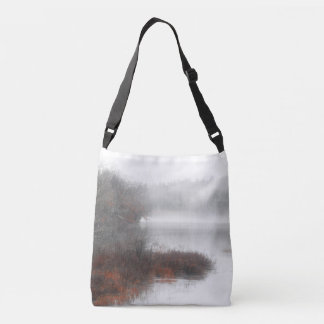 Foggy Lake on a Winter Day Crossbody Bag
