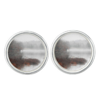Foggy Lake on a Winter Day Cufflinks