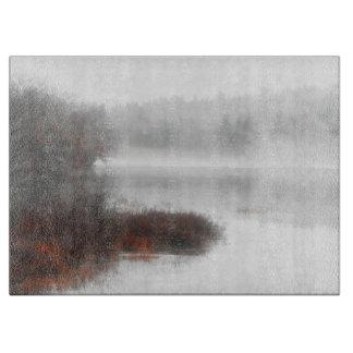 Foggy Lake on a Winter Day Cutting Board