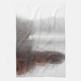 Foggy Lake on a Winter Day Kitchen Towel