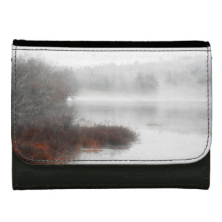 Foggy Lake on a Winter Day Leather Wallet