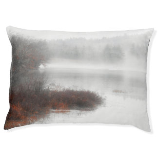 Foggy Lake on a Winter Day Pet Bed