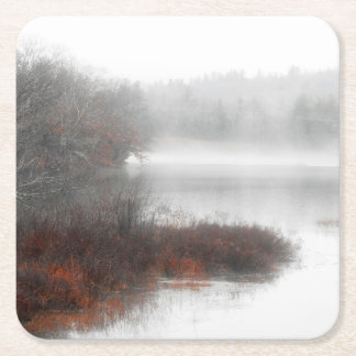 Foggy Lake on a Winter Day Square Paper Coaster