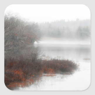Foggy Lake on a Winter Day Square Sticker