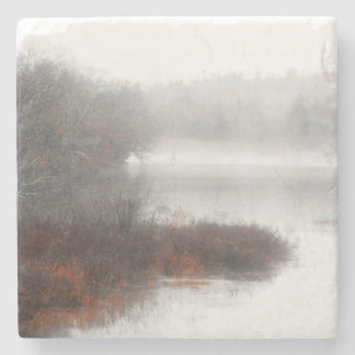 Foggy Lake on a Winter Day Stone Coaster