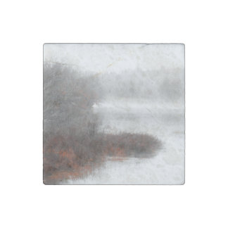 Foggy Lake on a Winter Day Stone Magnets