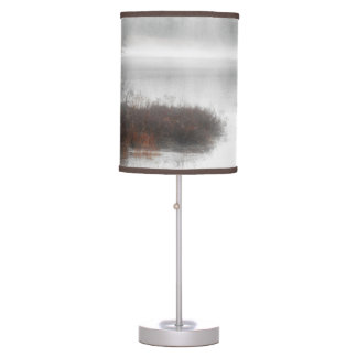 Foggy Lake on a Winter Day Table Lamp