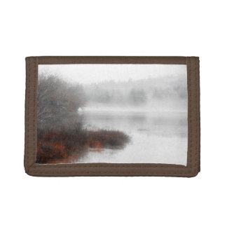 Foggy Lake on a Winter Day Trifold Wallet