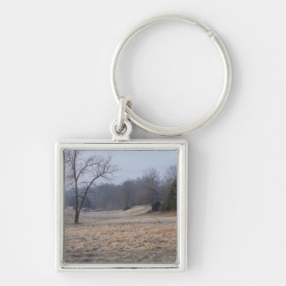 Foggy Meadow Silver-Colored Square Keychain