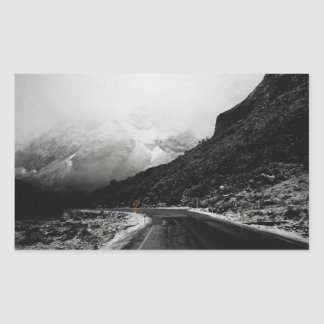 Foggy Misty Mountain Road Landscape Photo Stickers