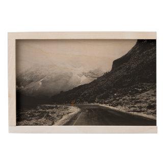 Foggy Misty Mountain Road Landscape Wooden Box