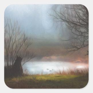 Foggy Morning Ducks Square Sticker