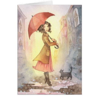 Foggy Morning - Girl and Cat Greeting Card