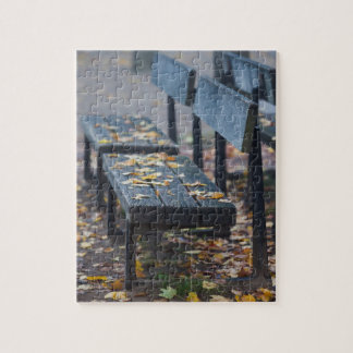 Foggy morning park bench, Germany Jigsaw Puzzle
