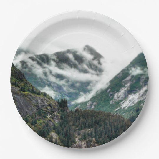 Foggy Mountain Tops Paper Plate 9 Inch Paper Plate
