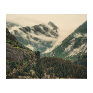 Foggy Mountain Tops Wood Print
