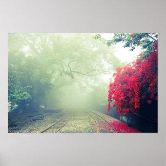 Foggy Mystical Railroad Poster