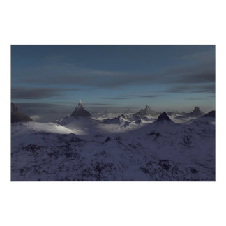 Foggy Peaks Poster