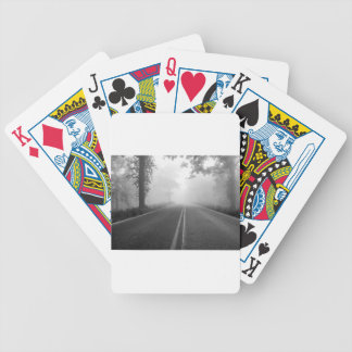Foggy road bicycle playing cards