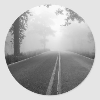 Foggy Road Classic Round Sticker