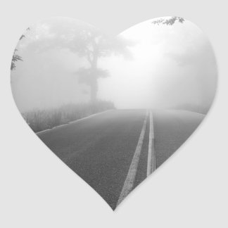 Foggy road heart sticker