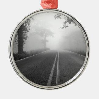 Foggy road metal ornament