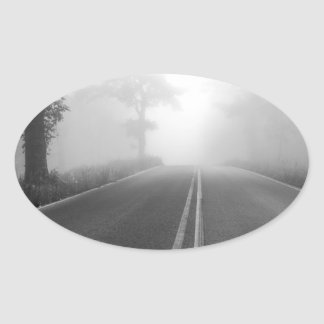 Foggy road oval sticker