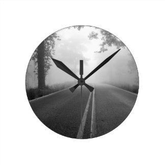Foggy road round clock