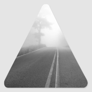 Foggy road triangle sticker