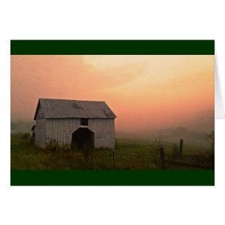 Foggy Sunrise Barn Greeting Card