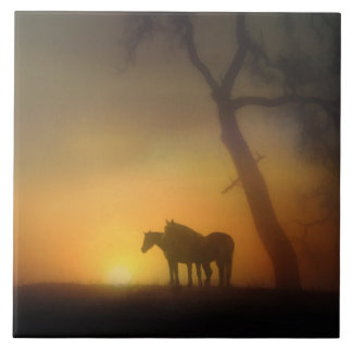 Foggy Sunrise Horses and Oaktree Ceramic Tiles