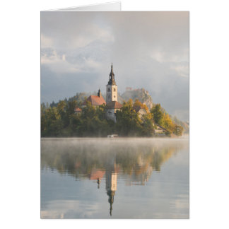 Foggy sunrise Lake Bled greeting card