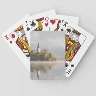 Foggy sunrise Lake Bled playing cards