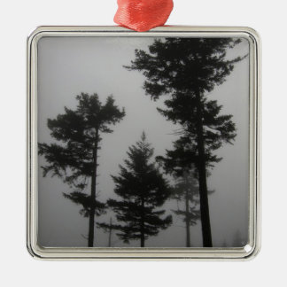 Foggy Trees Silver-Colored Square Ornament