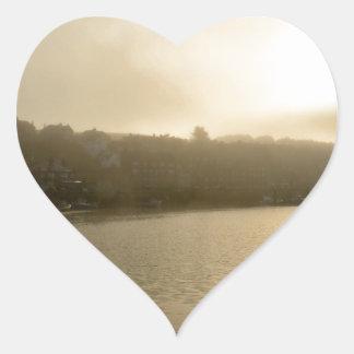 Foggy Whitby morning Heart Sticker