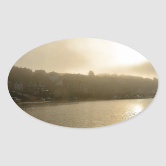 Foggy Whitby morning Oval Sticker