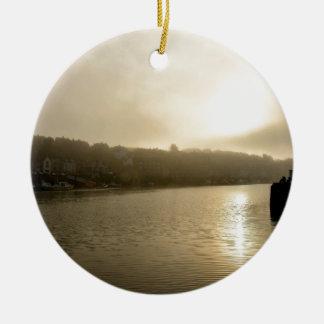 Foggy Whitby morning Round Ceramic Ornament