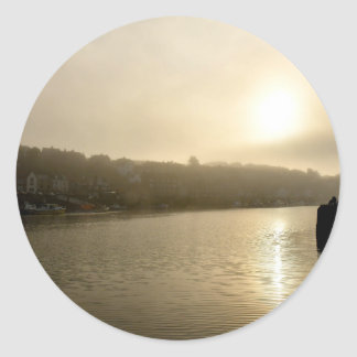 Foggy Whitby morning Round Sticker