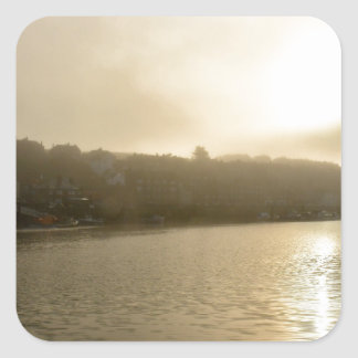 Foggy Whitby morning Square Sticker