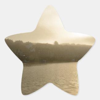 Foggy Whitby morning Star Sticker
