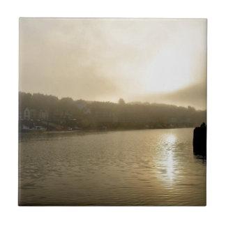 Foggy Whitby morning Tile