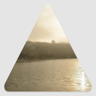 Foggy Whitby morning Triangle Sticker